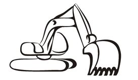 Excavator icon in simple black lines Stock Photography
