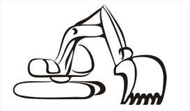 Excavator icon in simple black lines vector illustration