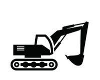 Excavator icon. Vector black Excavator icon on white background Royalty Free Stock Photo