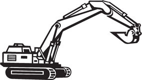 Excavator Illustration. Line Art Illustration of an Excavator Royalty Free Stock Images