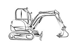 Excavator illustration art work drawing fun sketch. A very nice excavator illustration art work drawing fun sketch good for any design or project Royalty Free Stock Photography