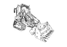 Excavator illustration art work drawing fun sketch. A very nice excavator illustration art work drawing fun sketch good for any design or project Stock Photo