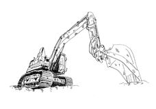Excavator illustration art work drawing fun sketch. A very nice excavator illustration art work drawing fun sketch good for any design or project Royalty Free Stock Images