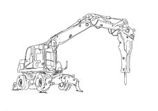 Excavator illustration art work drawing fun sketch. A very nice excavator illustration art work drawing fun sketch good for any design or project Stock Photos