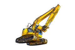 Excavator illustration color isolated art Royalty Free Stock Photo