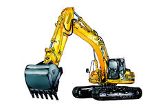 Excavator illustration color isolated art Royalty Free Stock Photos