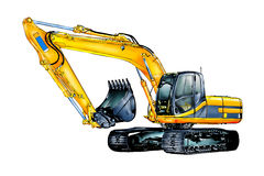 Excavator illustration color isolated art Stock Images