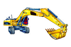 Excavator illustration color isolated art Stock Photo