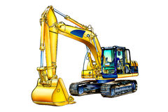 Excavator illustration color isolated art Stock Photography