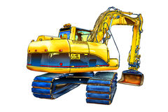 Excavator illustration color isolated art Royalty Free Stock Images