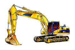Excavator illustration color isolated art Stock Photos