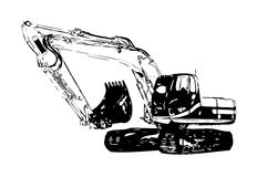 Excavator illustration color isolated art work Stock Photography
