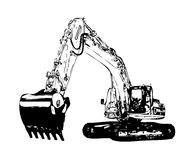 Excavator illustration color isolated art work. Hand made drawing, artwork, design Royalty Free Stock Photography