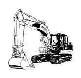 Excavator illustration color isolated art work Royalty Free Stock Image