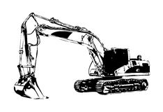 Excavator illustration color isolated art work Stock Photo