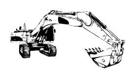 Excavator illustration color isolated art work Stock Images