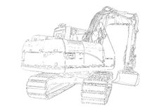 Excavator illustration isolated art drawing Royalty Free Stock Image