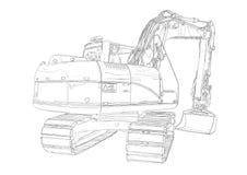 Excavator illustration isolated art drawing Royalty Free Stock Image