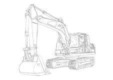 Excavator illustration isolated art drawing Stock Photography