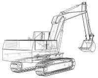 excavator Ilustração preto e branco Formato EPS10 Vetor criado de 3d ilustração stock