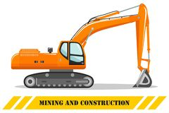 excavator Ilustra??o detalhada da m?quina de minera??o e do equipamento de constru??o pesados Ilustra??o do vetor ilustração stock