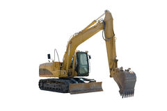 Excavator Isolated. This is a yellow excavator ready to start digging, Isolated on a white background Royalty Free Stock Photos