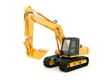 Excavator isolated with light shadow. Construction heavy machine: excavator isolated on white background with light shadow Royalty Free Stock Photography