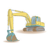 Excavator isolated on white background, vector illustration. Excavator isolated on white background, colored sketch, vector illustration Stock Photography