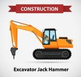 Excavator jack hammer as icon design. Illustration Stock Image