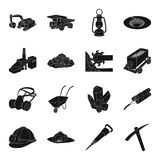 Excavator, jackhammer, helmet and other items for the mine. Mine set collection icons in black style vector symbol stock Royalty Free Stock Image