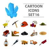 Excavator, jackhammer, helmet and other items for the mine. Mine set collection icons in cartoon style vector symbol Royalty Free Stock Photos