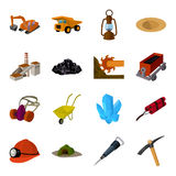 Excavator, jackhammer, helmet and other items for the mine. Mine set collection icons in cartoon style vector symbol Stock Images