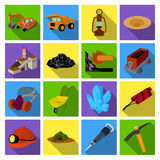 Excavator, jackhammer, helmet and other items for the mine. Mine set collection icons in flat style vector symbol stock Royalty Free Stock Photo