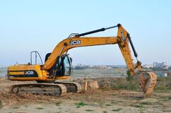 Free Excavator JCB JS 220 SC In A Working At Construction Site Royalty Free Stock Image - 179524796