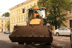 Excavator with large bucket. Large yellow excavator with large bucket Royalty Free Stock Photography
