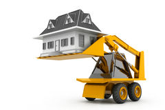 Excavator lift the home Royalty Free Stock Photos