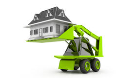 Excavator lift the home Royalty Free Stock Photo