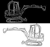 Excavator line art drawing. Or sketch with bucket black and white clip vector illustration vector illustration
