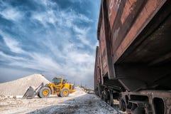 Excavator loader with backhoe works Stock Images
