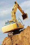Excavator loader at earthmoving works Stock Image