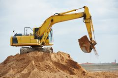 Excavator loader at earthmoving works Royalty Free Stock Image
