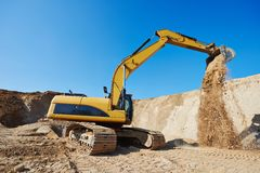 Excavator loader at earthmoving works Stock Photo