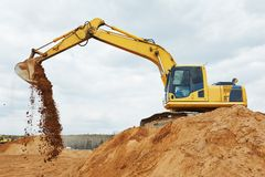 Excavator loader at earthmoving works Stock Images