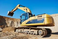 Excavator loader at earthmoving works Stock Images