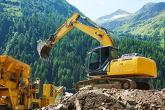 Excavator loader machine at construction site Royalty Free Stock Photography