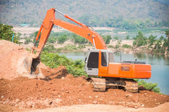 Excavator loader machine during earthmoving Royalty Free Stock Photo