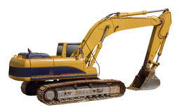 Excavator loader machine, isolated. Excavator loader machine on white with clipping path Stock Images