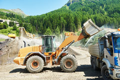 Excavator loader machine at quarry Royalty Free Stock Photos