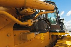 Excavator Loader Machine. Side View of Front Hoe Loader. Industrial Vehicle. Heavy Equipment Machine. Pneumatic Truck. Constructio. N Equipment on a background royalty free stock images