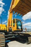 Excavator Loader Machine. Side View of Front Hoe Loader. Industrial Vehicle. Heavy Equipment Machine. Pneumatic Truck. Constructio